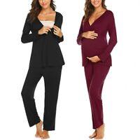 2PCS Women Pregnancy Nursing Solid Ruffle Long Sleeve Tops Pants Pajama Set Suit