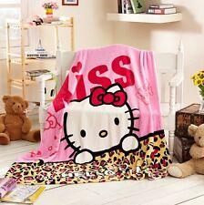 Cartoon Cute Anime Hello Kitty Soft Plush Silky Flannel Blanket Throw Bedding