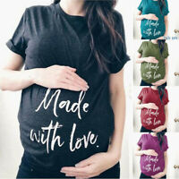Women Maternity Summer Pregnant Letter Print Tee T Shirt Short Sleeve Blouse Top