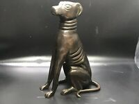 """Vintage Cast Bronze Metal Greyhound Dog Sitting Figurine 5 ½"""""""