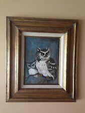 "12"" x 9"" ORIGINAL PAINTING OIL IN CANVAS OWLS."