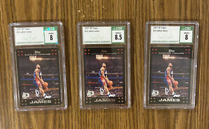 2007-08 Topps - LeBRON JAMES #23 , LOT Of 3 CSG Graded -8.5 and 8 🔥 Lakers CAVS