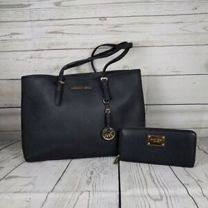 Michael Kors Jet Set East west large  leather tote bag black gold hardware