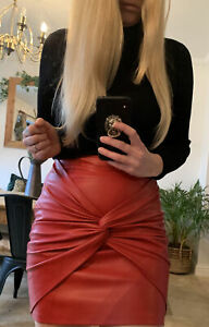 ZARA RED KNOT FRONT HIGH WAISTED FAUX LEATHER SKIRT 8 10 S NEW