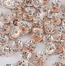 Rhinestone beads,  rondelle beads rose gold silver jewellery making