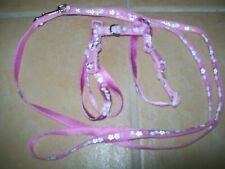 SMALL DOG PUPPY KITTEN RABBIT HARNESS + LEAD SET PINK FLOWERS ADJUSTABLE