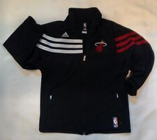 MIAMI HEAT Adidas NBA Warm Up Jacket Boys Size 8 Small Black Basketball Licensed