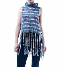 Free People Women's Authentic Fringe Cowl Neck Top Midnight RRP £111 BCF66