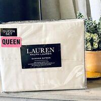 New Lauren Ralph Lauren  4 Piece Dunham Sateen Sheet Set Beige Tan - QUEEN