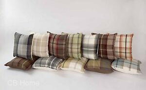 New Highland Mist Tartan Cushion Covers 13 Colours Wool Feel