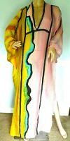 $2,610 Emilio Pucci Colorblock Long Maxi Gown Swim Kaftan Dress US 2 4 / IT 38