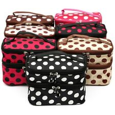 Polka Dot Cosmetic Bag Double Layer Travel Toiletry Makeup Organizer Storage