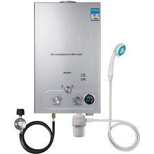 12L Tankless Hot Water Heater Propane Gas Instant Boiler LPG W/ Shower Kit