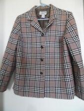 Pendleton Taupe  Wool Plaid Vintage Blazer Jacket  Sz 8