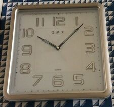 Q.M.X. Square Wall Clock Two Tone Quiet No Ticking Smooth Sweep Easy to Read NEW