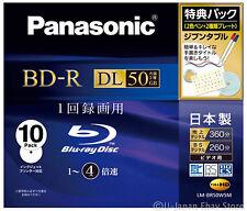 10 Panasonic Bluray BD-R DL 50GB Dual Layer 4X Speed Printable Bluray Discs
