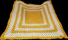 """Hand Crocheted Granny Square Afghan Throw Gold And White 45"""" x 45"""""""