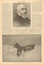 Canadian Country Doctor On His Rounds, Horse Drawn Sleigh, 1888 Antique Print