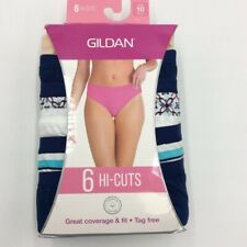 Gildan Womens Hi-Cuts 6 Pack Blue Floral Stripe Solid Cotton Plus 10 3XL New