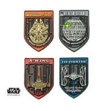 Metal Lapel Pin Set (4 piece) Disney Star Wars Fighters Space Ships Base