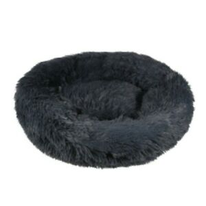 Fluffy Donut Dog Cat Bed Charcoal Grey Pet Calming Comfy Warm Nest