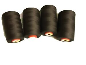 4 CONES BLACK COMETA  5000 YDS SEWING MACHINE OVERLOCK THREAD  FREE DELIVERY