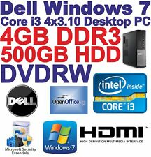 Windows 7 Dell Core i3 4x3.10GHz Desktop PC -4GB DDR3 - 500GB HDD - DVDRW-HDMI