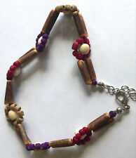 """10+1"""" Anklet w/ Wooden Lightweight Beads Floral Design Double Layer Silver Tone"""