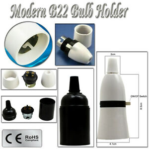NEW SWITCHED LAMP HOLDER STANDARD BAYONET B22 CAP BC FITTING LIGHT BULB UK STOCK