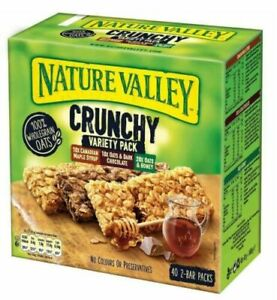 Nature Valley Crunchy Granola Bars Variety Pack 100% Wholegrain 40x2 Bars