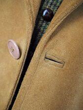 BESPOKE Yellow / Golden / Camel Suede Leather Long Coat 3XL / UK 48 / Long