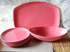 "Lot of 9 Vintage DK. PINK MELAMINE Dishes PINK ""Allied Chemical"" see pics"