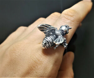 STERLING SILVER 925 Bee Ring Bumble Bee Honey Bee Apiary Jewelry Good Luck Talis