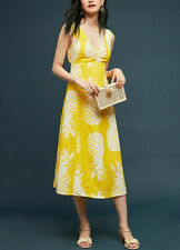 Maeve by Anthropologie Dress Pineapple V Neck Tie Knot Midi S US 2 New 10957