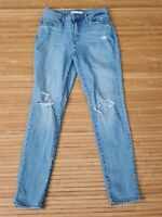 Levis 721 High Rise Skinny Light Wash Distressed Ankle Jeans Womens Size 28