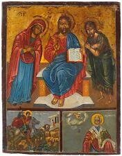 Ikone Rußland 18-19 Jh. ICON  Christi Hl.Georg Hl.Nikolaus