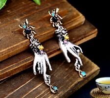 Vintage antique style spider, hand and hanging crystal earrings