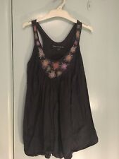 French Connection navy top with embroidered flowers in size 8