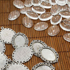 10set DIY Tibetan Style Pendant Findings CABOCHON Settings Clear Glass Cabochons