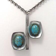 """Vintage Jorgen Jensen Denmark Pewter Turquoise Glass Pendant Necklace Sz 26"""""""