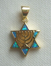 Jewish 18K Gold 2 Microns Star of David Opals Gold Menorah in Center VERY NICE