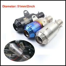 51mm Universal Stainless Steel Tail Muffler Exhaust Pipe w/ DB Killer Bracket