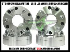 "4x 5x4.75 to 6x5.5 Wheel Adapters Use 6 Lug Wheels on 5 Lug Car 2"" Inch Thick"