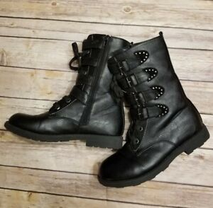 CoCo Jumbo Boots big girls Size 4 Black Side Zip Lace Up Back