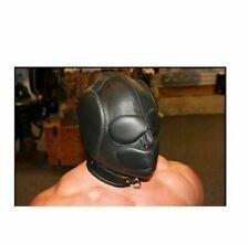 Men Sensory Deprivation Hood Bondage Padded Mask Black Soft Leather Unisex