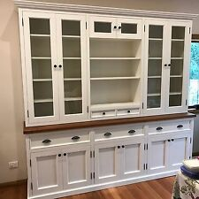 Australian Made Grandview White Painted Wall Library Unit Buffet Hutch