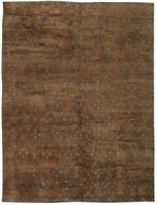 Contemporary Custom Moroccan Brown and Blue Hand Knotted Wool Rug N11437