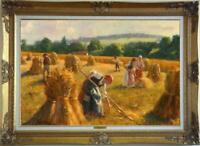 "Old Master-Art Antique Oil Painting Portrait farm woman on canvas 24""x36"""