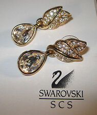 """GENUINE SWAROVSKI CRYSTAL & GOLD TONE PIERCED DROP EARRINGS"" STUNNING /SIGNED"