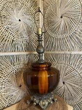 Vintage Mid Century Lamp Amber Glass EF and EF Industries Bulbous Large *RARE*